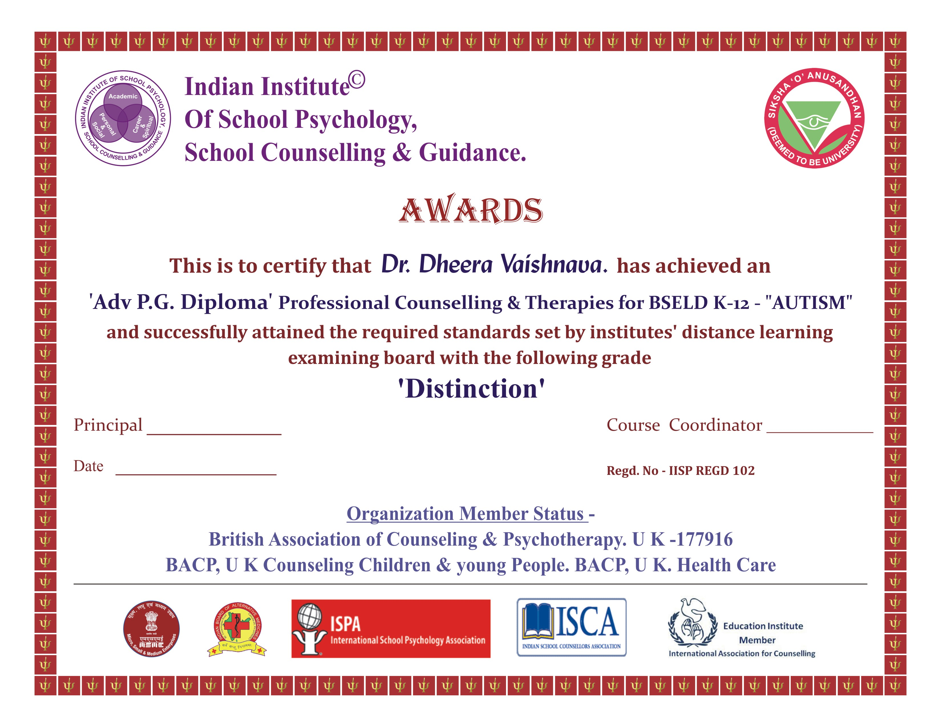 certificate psychology institute indian counseling